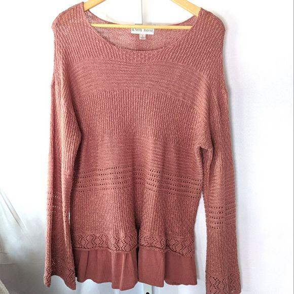 Knox Rose Blush Faux Layer Sweater Large